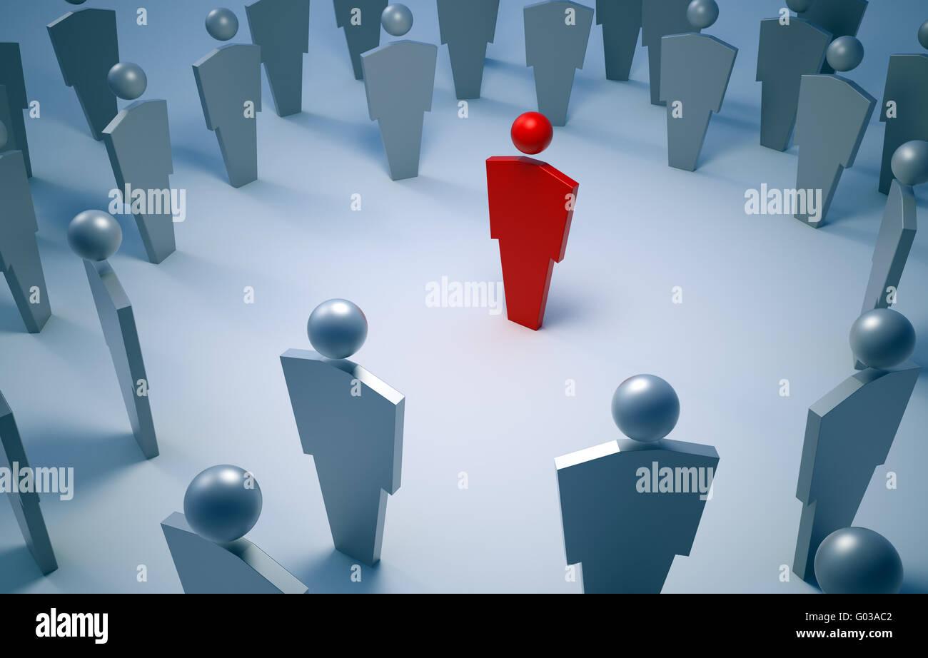 3D Menschen Symbole - rote einzigartigen Charakter im Zentrum Stockbild
