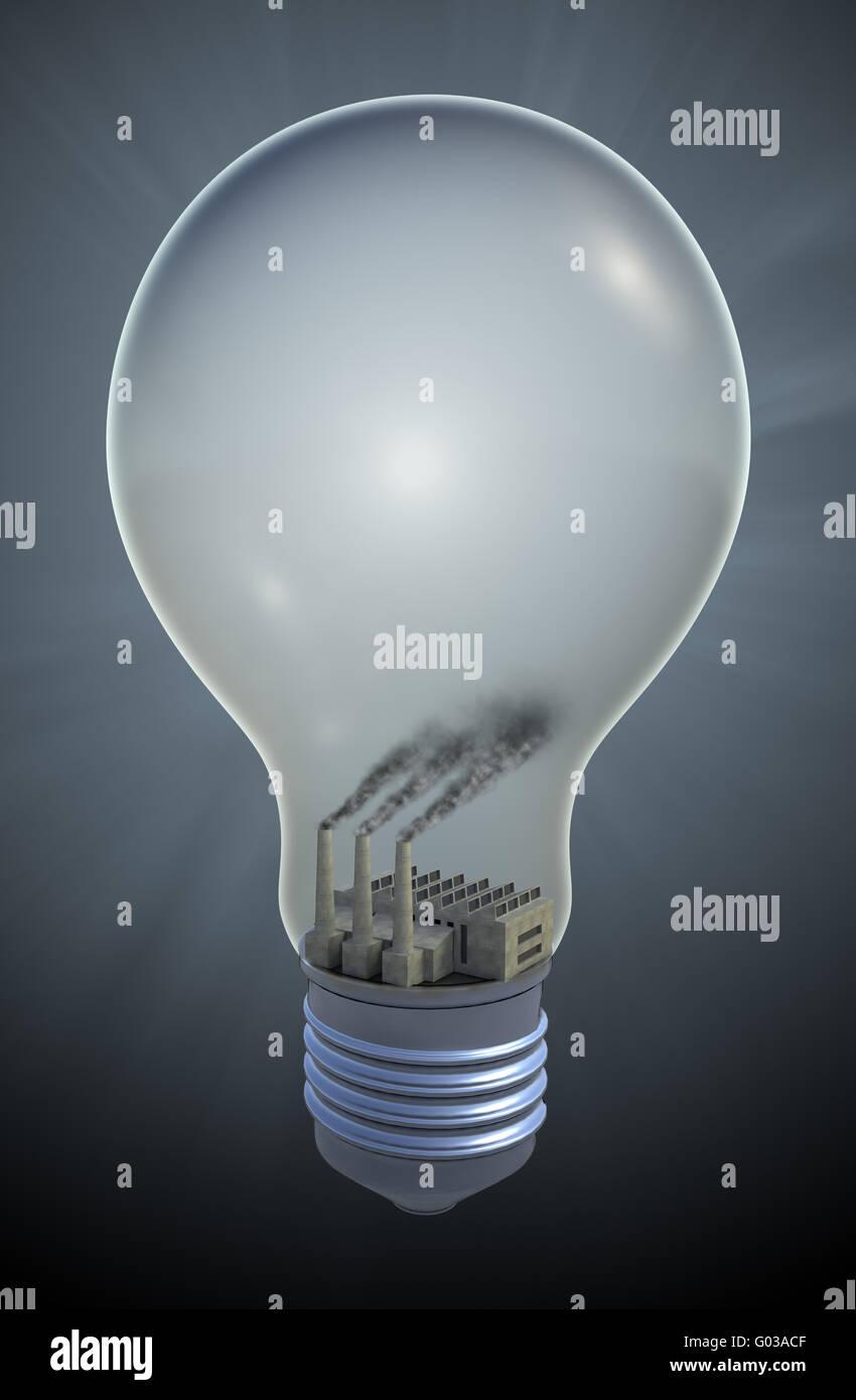 Glühbirne mit einer Kohle gefeuert Strom - fossile Brennstoffe Konzept Abbildung Stockbild