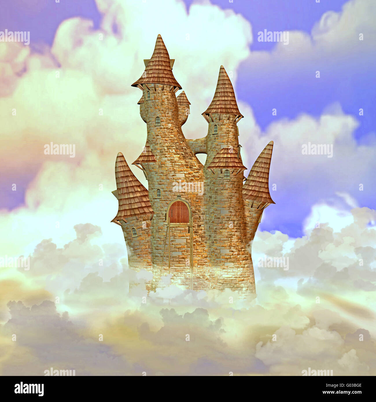 Schloss in den Wolken Stockbild