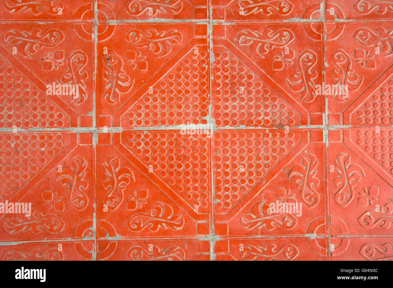 Zusammenfassung Hintergrund orange dekorative Fliesen und Textur ...