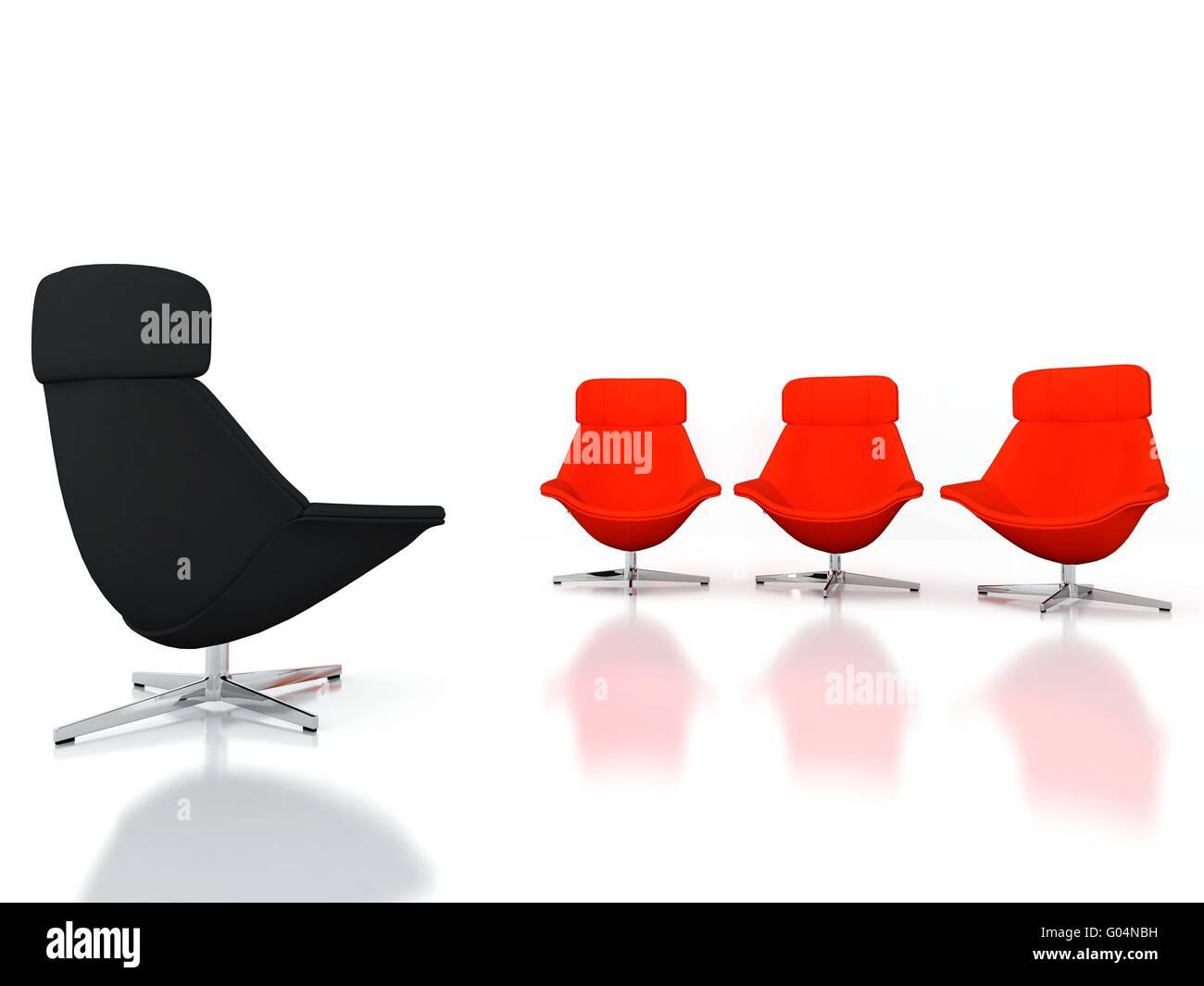 Schwarze Und Rote Moderne Stuhle Auf Weissem Hintergrund Stockfotografie Alamy