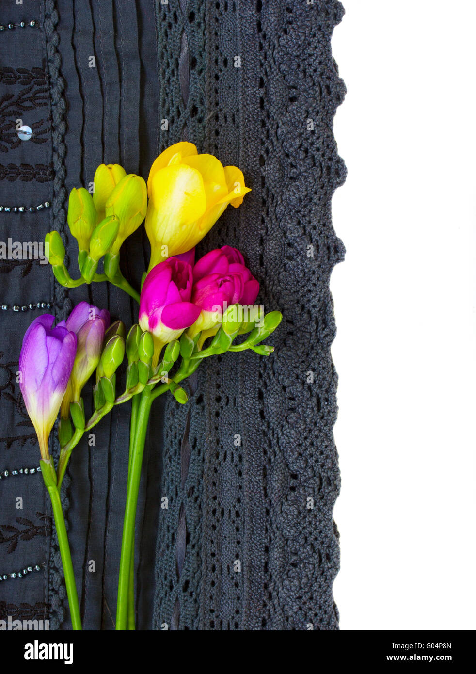 Black White Abstract Flowers Lace Stockfotos & Black White Abstract ...