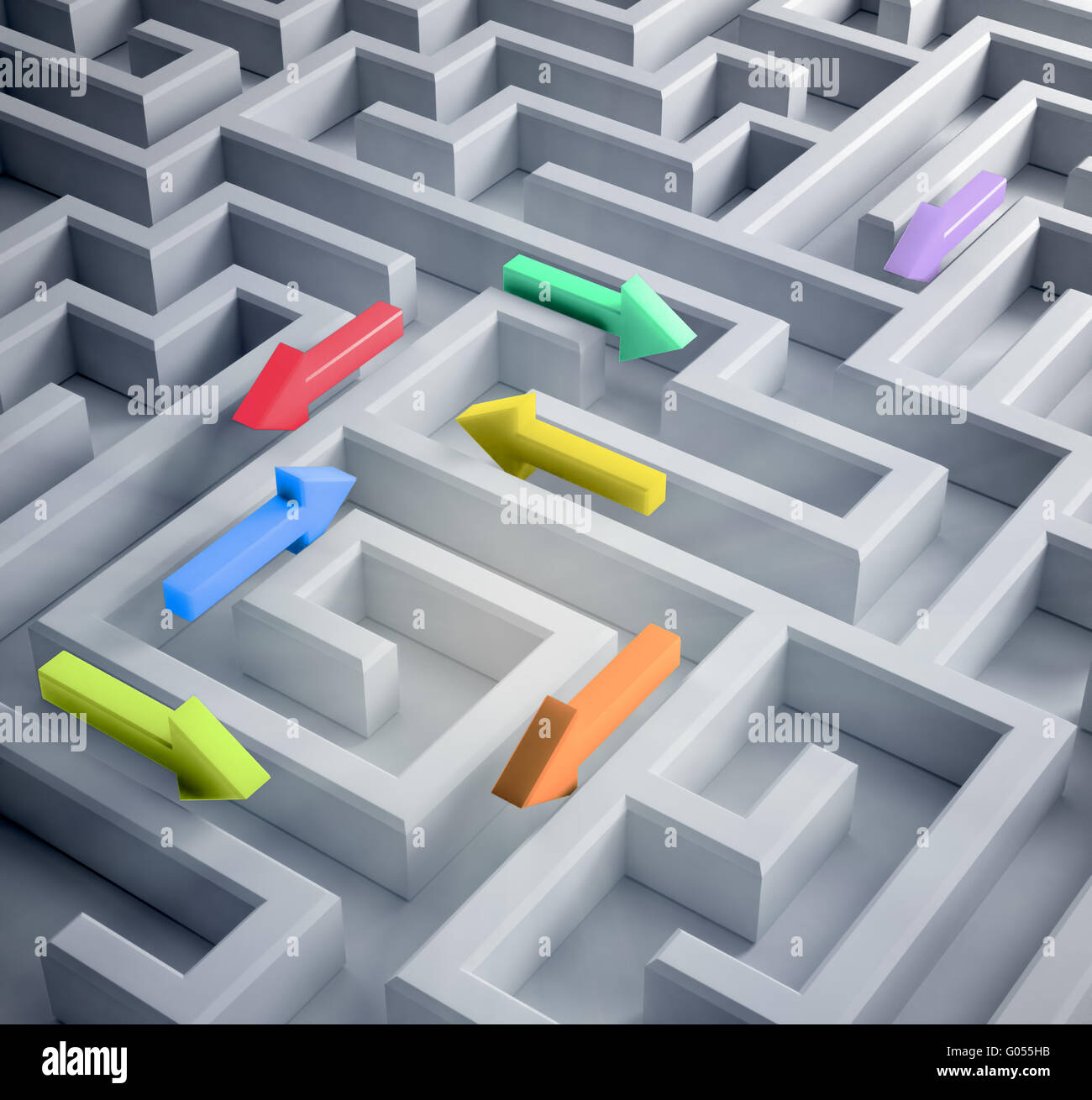 Labyrinth mit Pfeilen, die in verschiedene Richtungen führen Stockbild