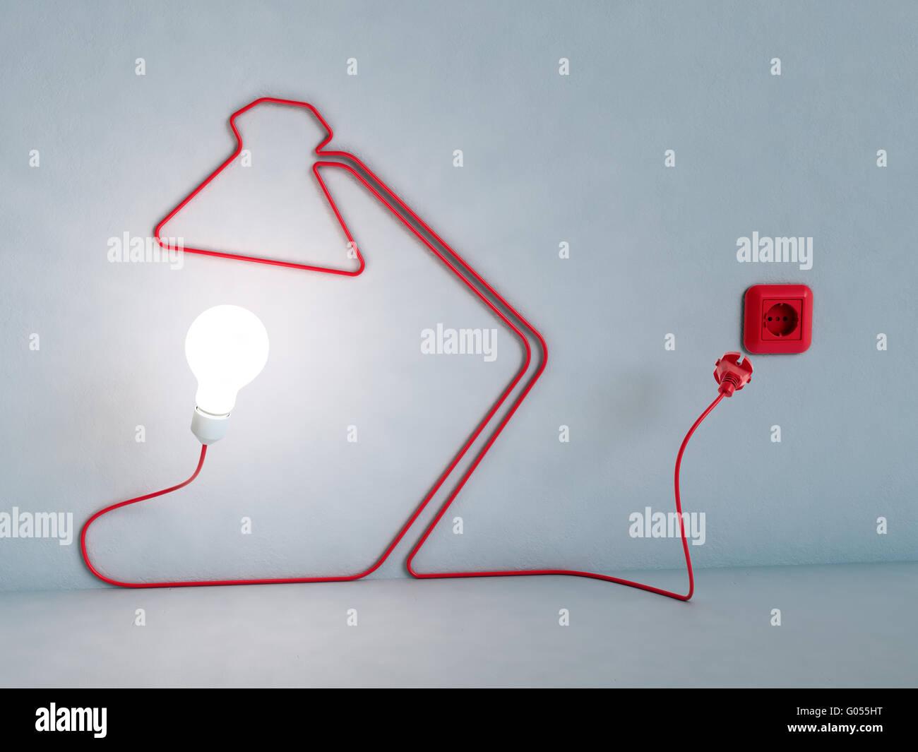 Lampe förmigen Stromkabel - Energie und Kreativität-Konzept Stockbild