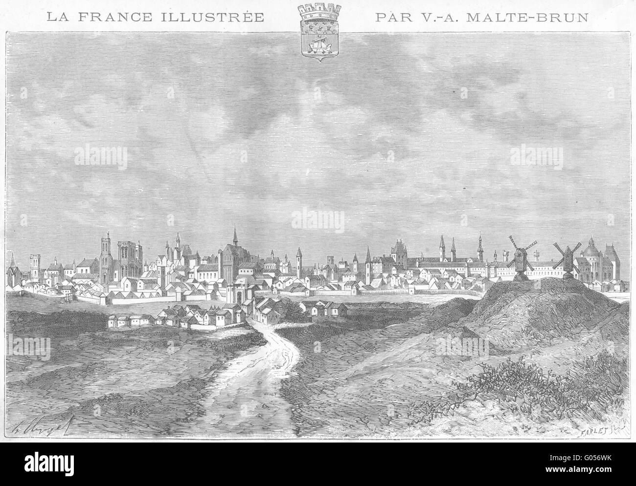PARIS: En 1620-Prise de Butte Moulins, antique print 1881 Stockbild