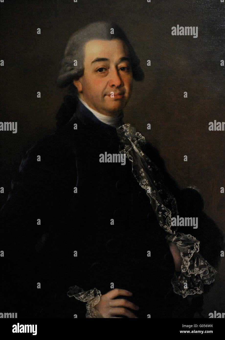 Dmitry Levitsky (1735-1822). Porträt eines unbekannten Mannes. Russisch, 1780. Öl auf Leinwand. Die Eremitage. Stockbild