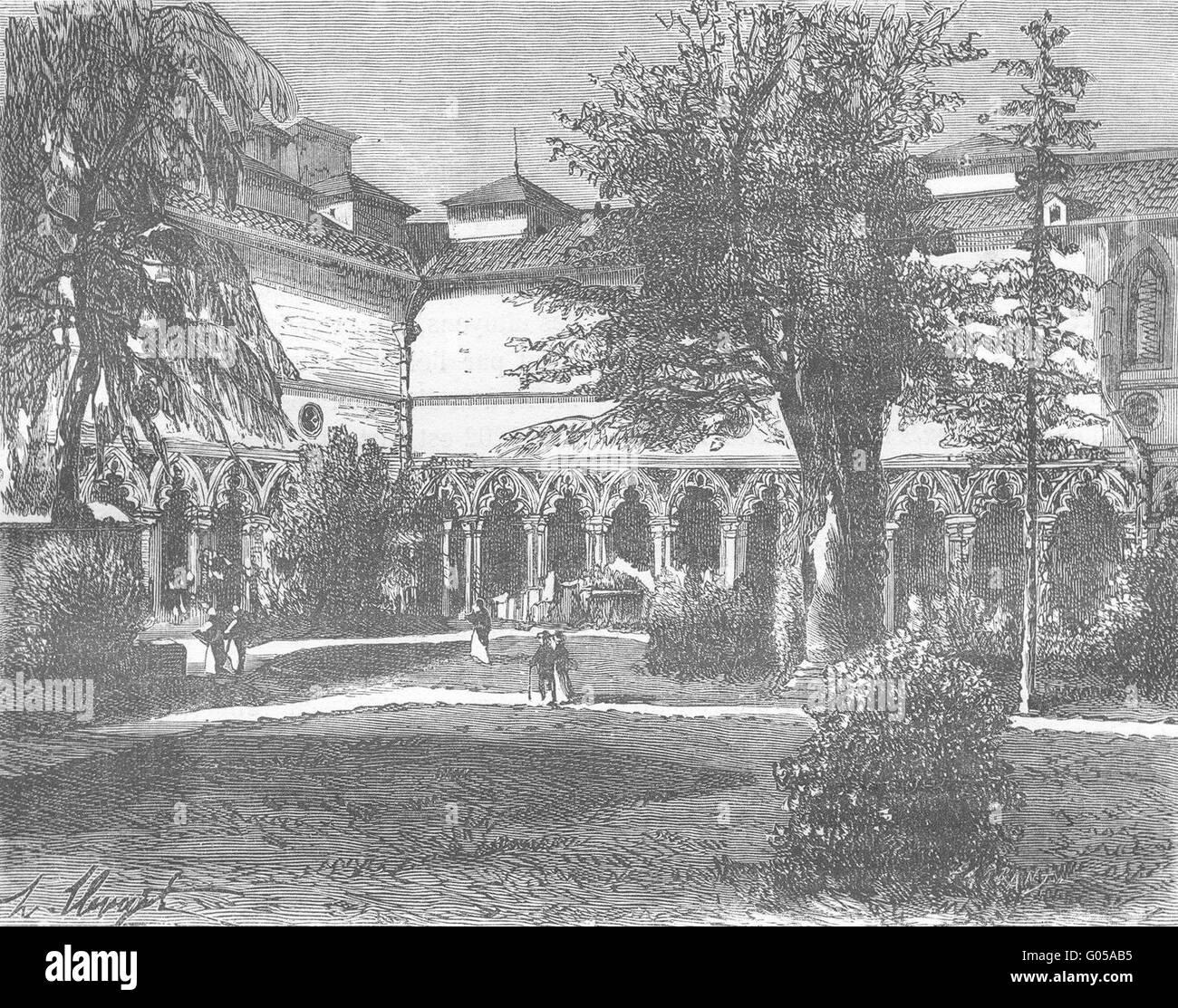 HAUTE-GARONNE: Du Musee de Toulouse, antiken print 1881 Stockbild