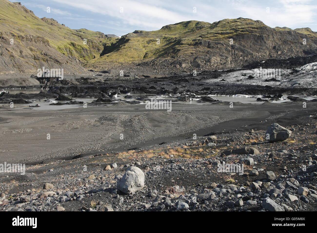 Sólheimajökull - einer der Outlet-Gletscher (Gletscherzungen) der Mýrdalsjökull Eiskappe Stockbild
