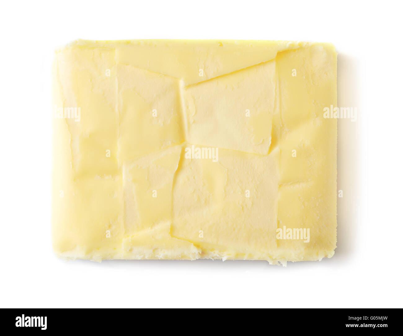 Butter, die isoliert auf weißem Hintergrund, Ansicht von oben Stockbild