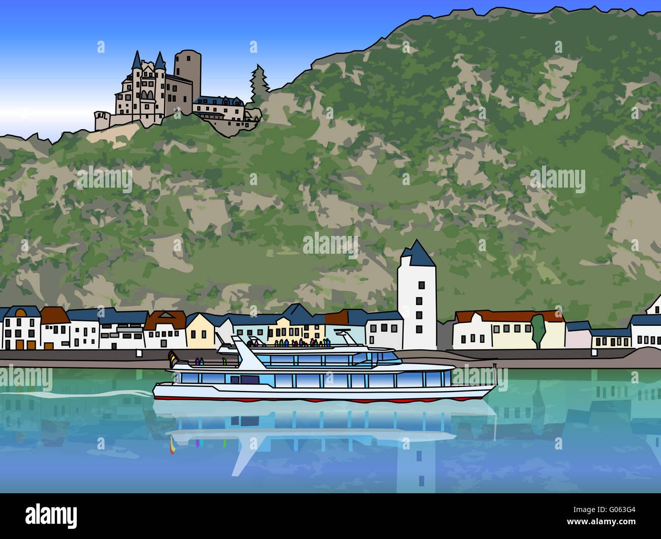 Passagierschiff auf dem Rhein Stockbild