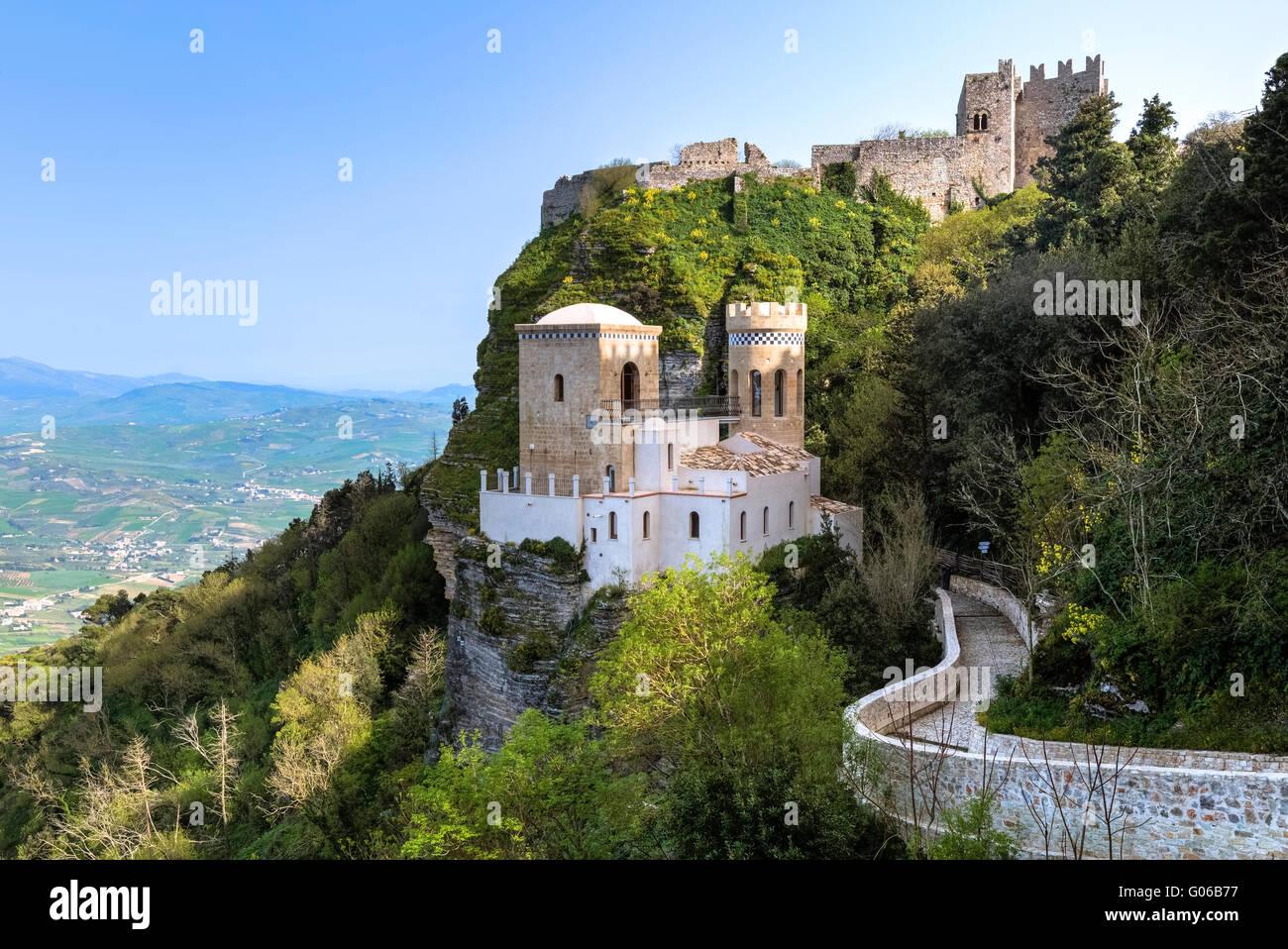 Erice, Schloss, Trapani, Sizilien, Italien Stockbild