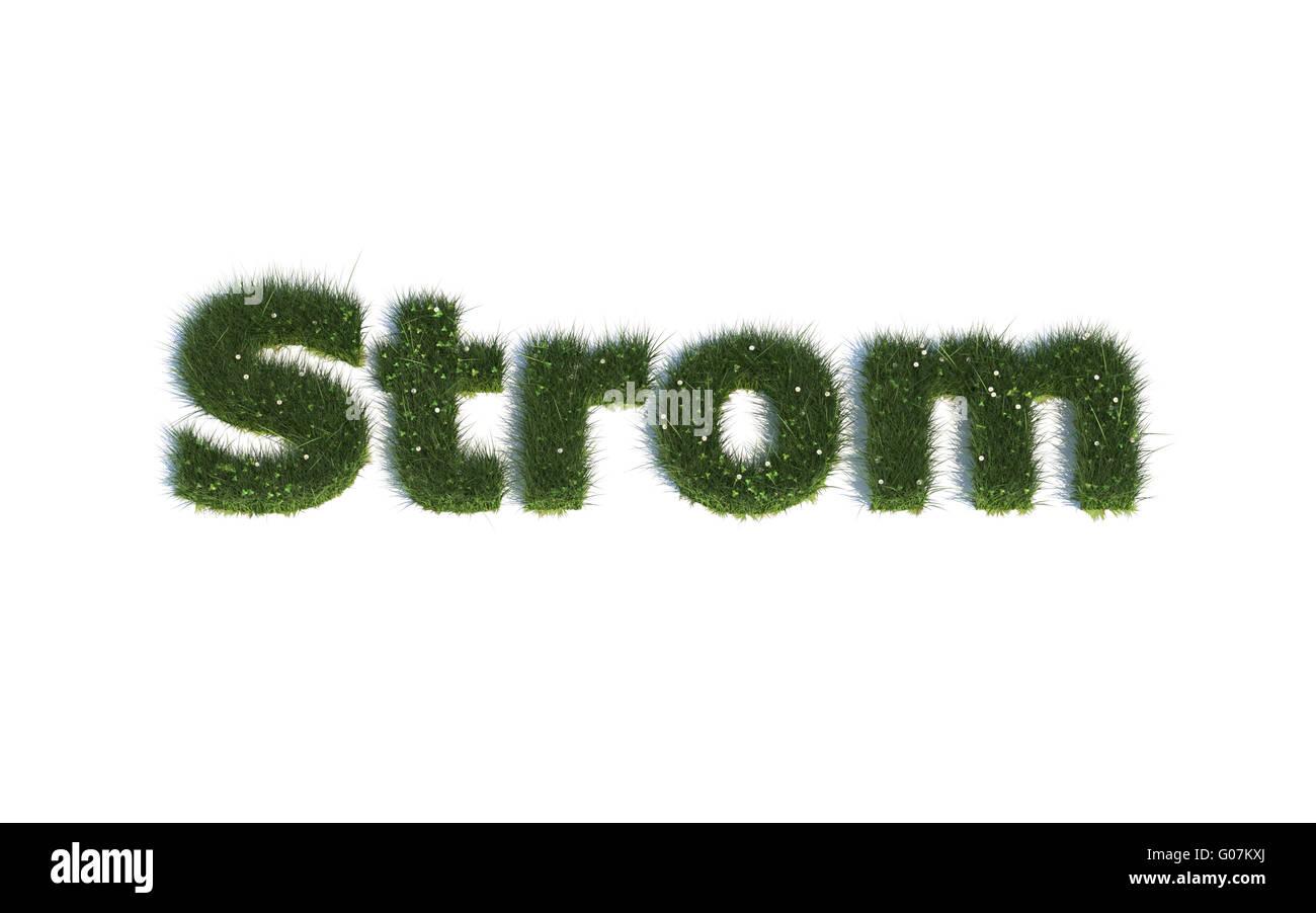 Strom: Serie Schriftarten aus realistischen Grass Sprache G (Strom) Stockbild