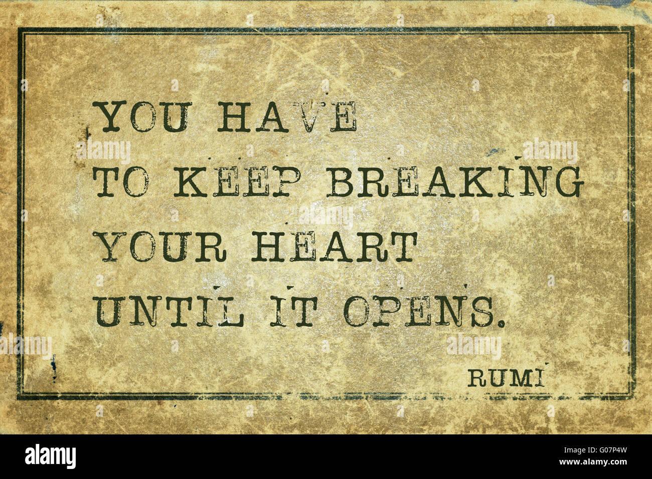 Du Musst Dein Herz Brechen Zu Halten Alte Persische Dichter Und Philosoph Rumi Zitat Auf Grunge Vintage Karton Gedruckt