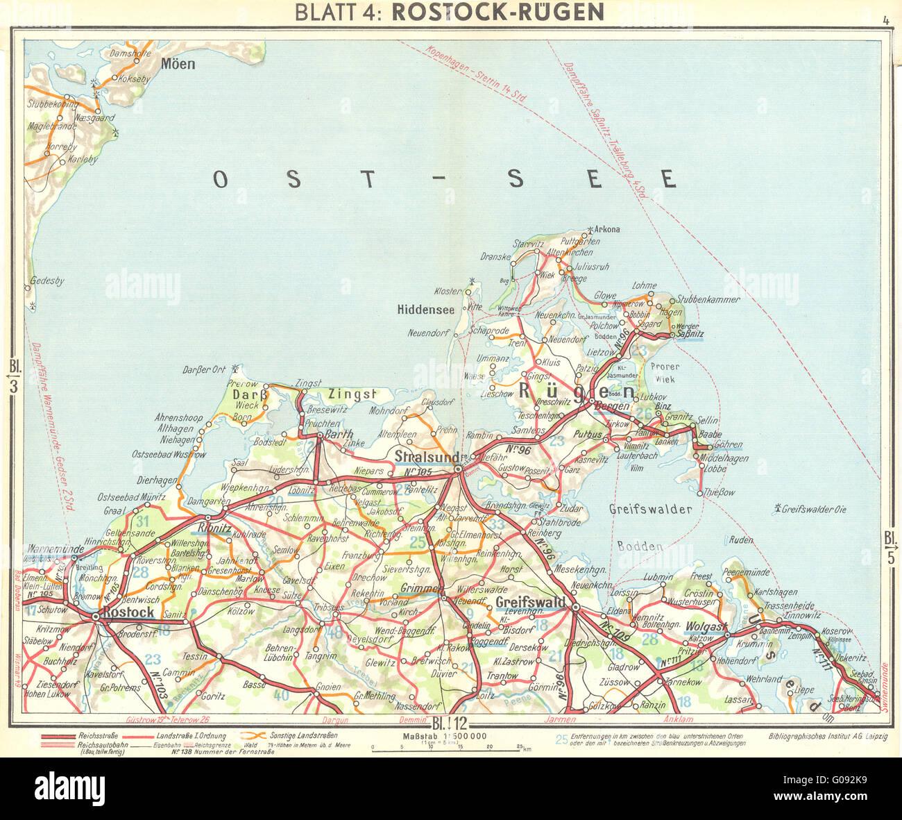 Deutschland Rostock Rugen 1936 Vintage Karte Stockfoto Bild