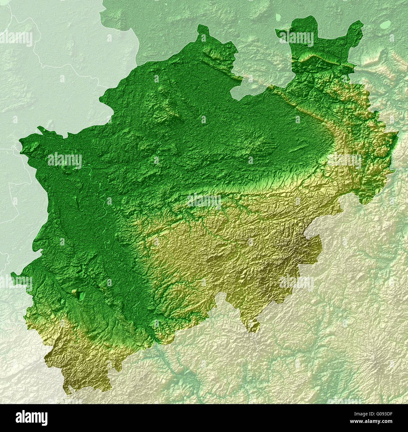 Topographische Karte Nrw.Nordrhein Westfalen Topographische Reliefkarte Stockfoto Bild