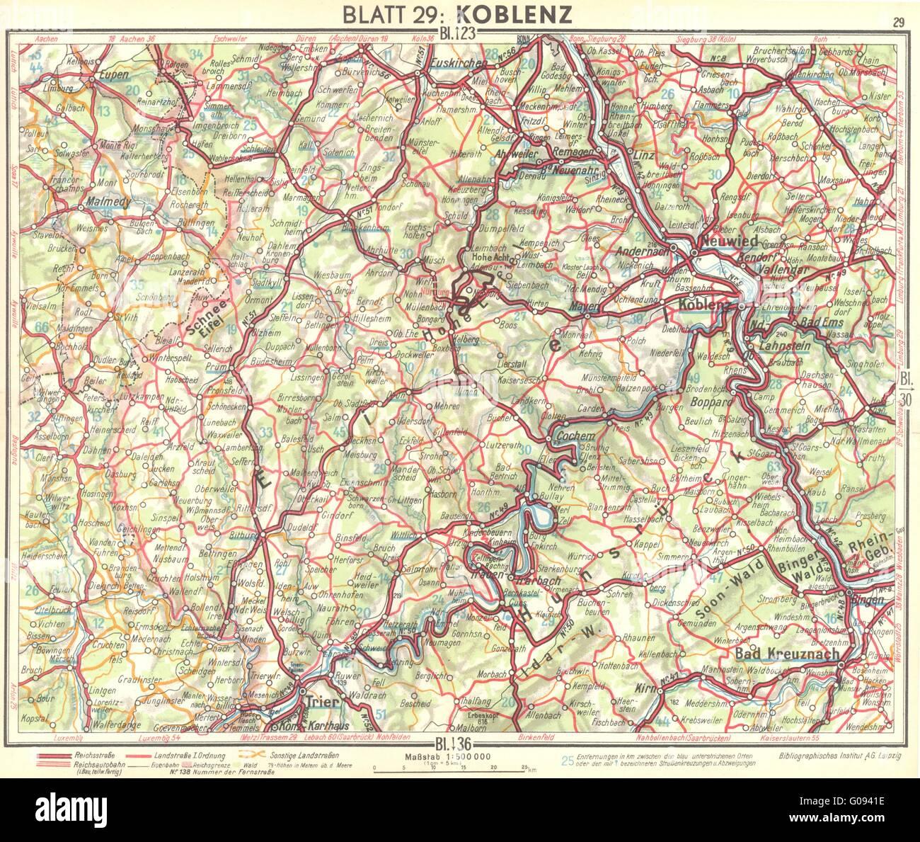Karte Koblenz.Deutschland Koblenz 1936 Vintage Karte Stockfoto Bild 103462954