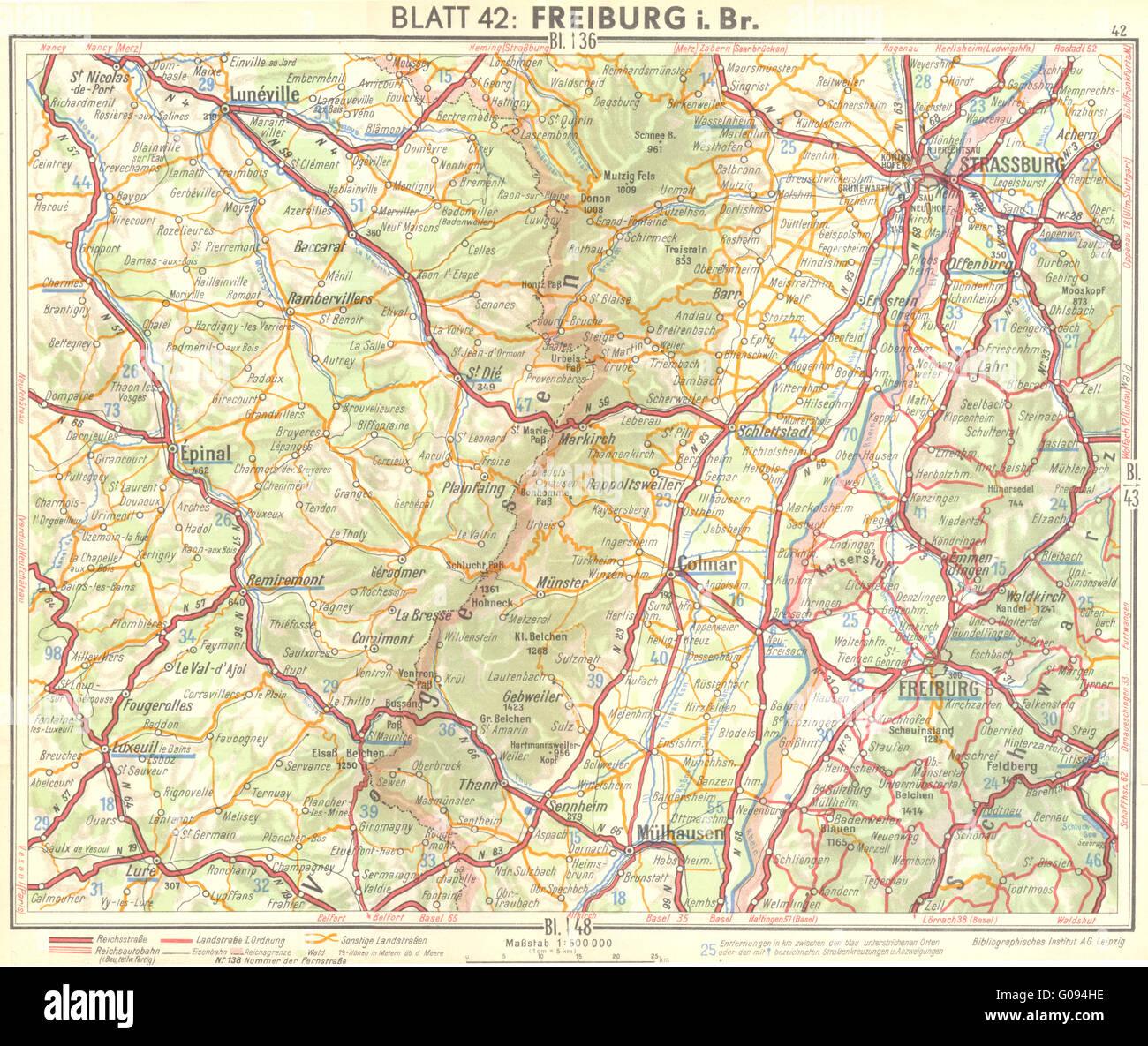Freiburg Karte.Deutschland Karte Freiburg I Br Jahrgang 1936 Stockfoto