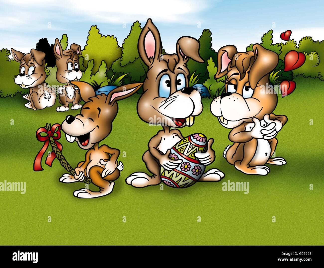 Kaninchen und Ostern Stockbild