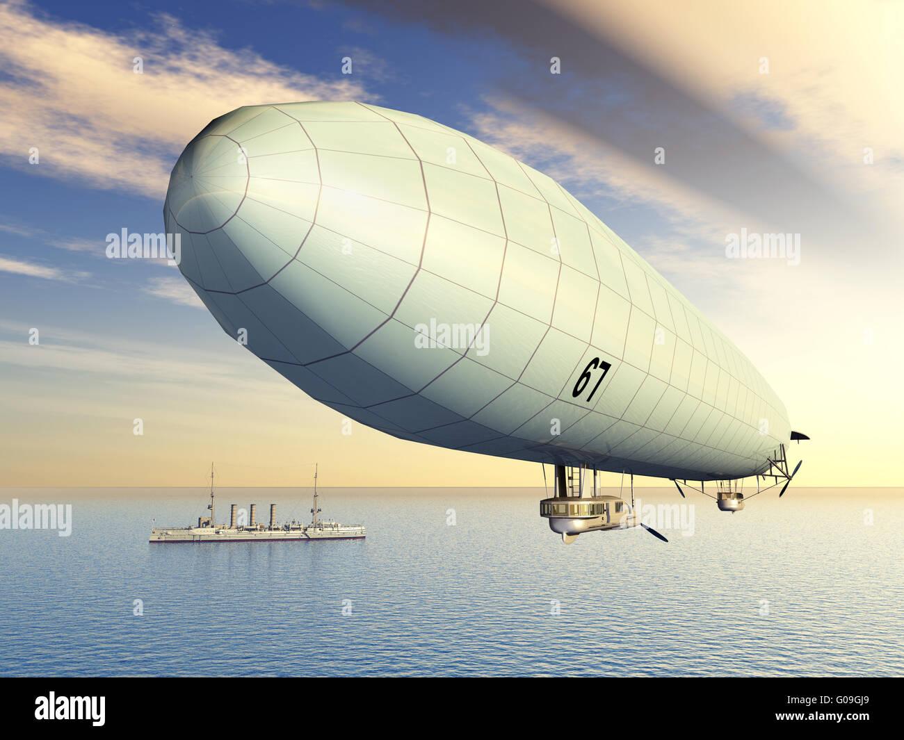 Deutsche Luftschiff und deutschen Kreuzer Stockbild