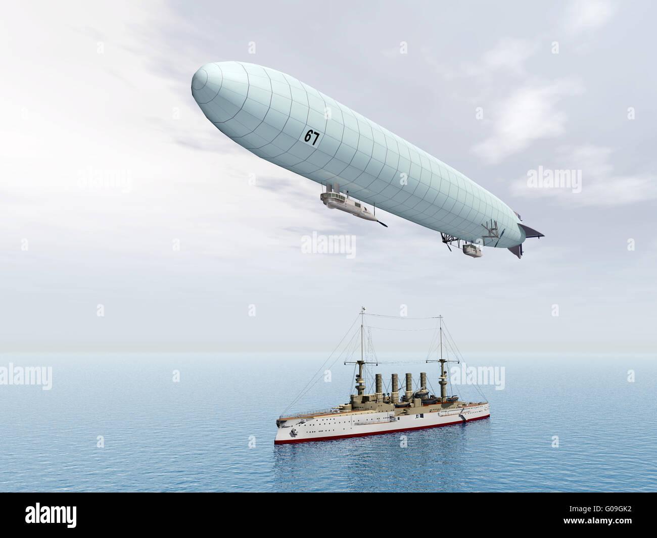 Deutsche Luftschiff und deutsche gepanzerte Kreuzer Stockbild