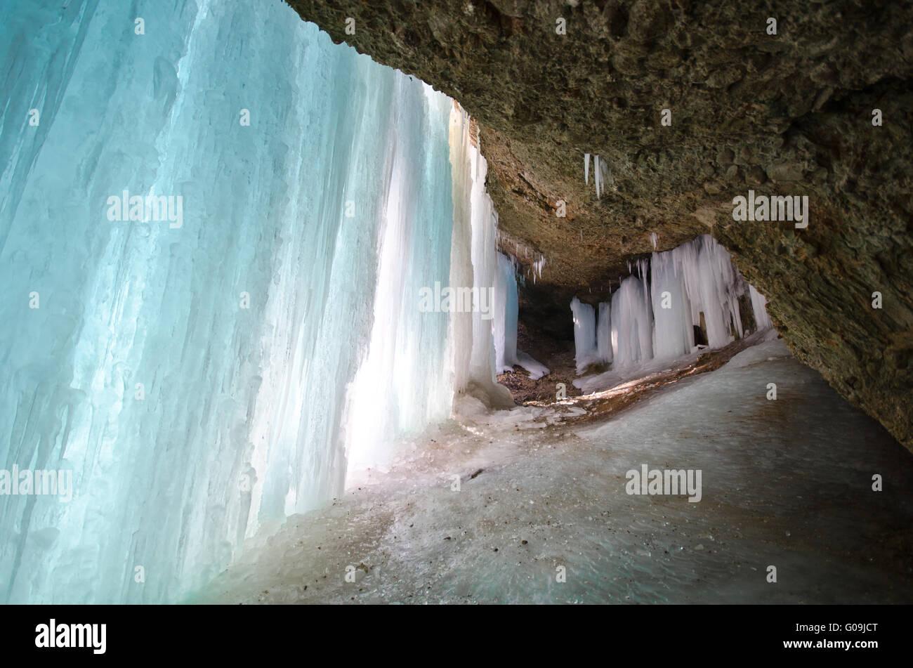 Eiszapfen in den Eistobel Stockbild