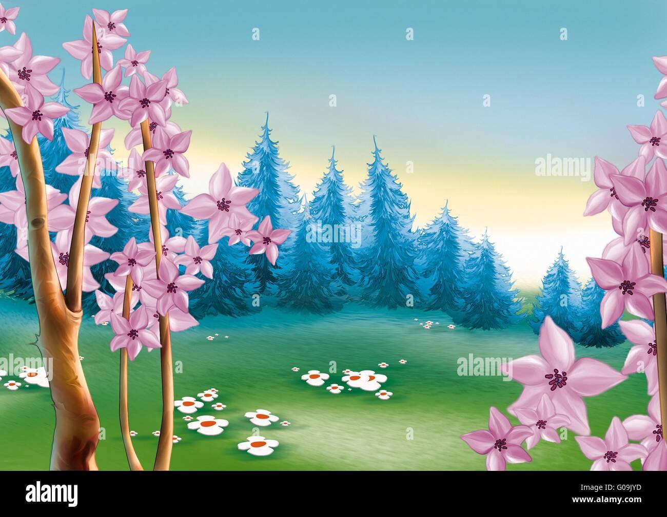 Frühlingswiese und Wald Stockbild