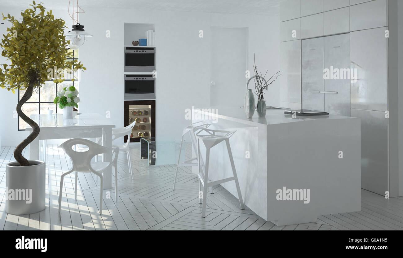 Kompakte moderne monochromen weißen Küche Interieur mit eingebauten ...