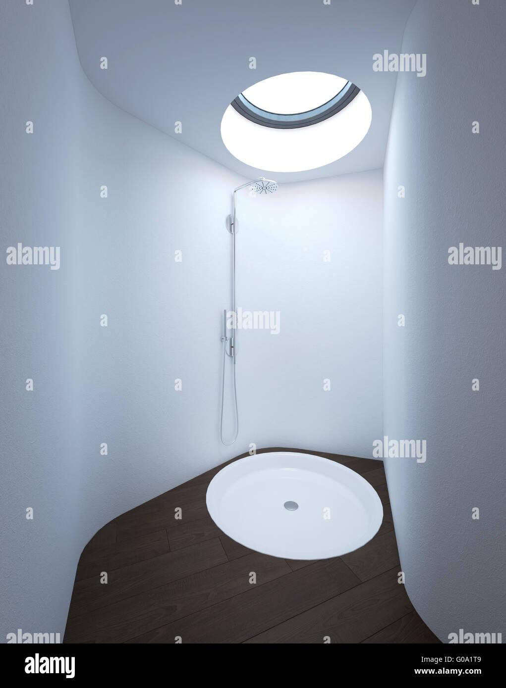 Moderne Dusche mit Oberlicht im Badezimmer mit weißen Wänden und ...
