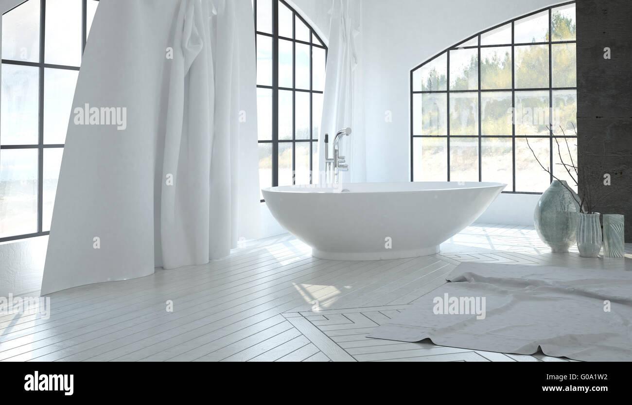 Luxus weißen Badezimmer Interieur mit einer zeitgenössischen ...