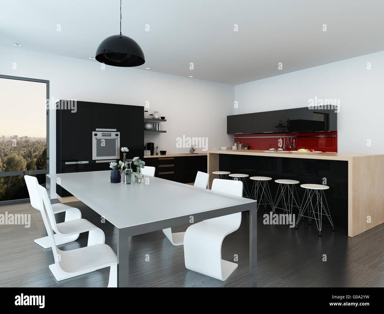 Moderne offene Wohnung Interieur mit einem stilvollen ...
