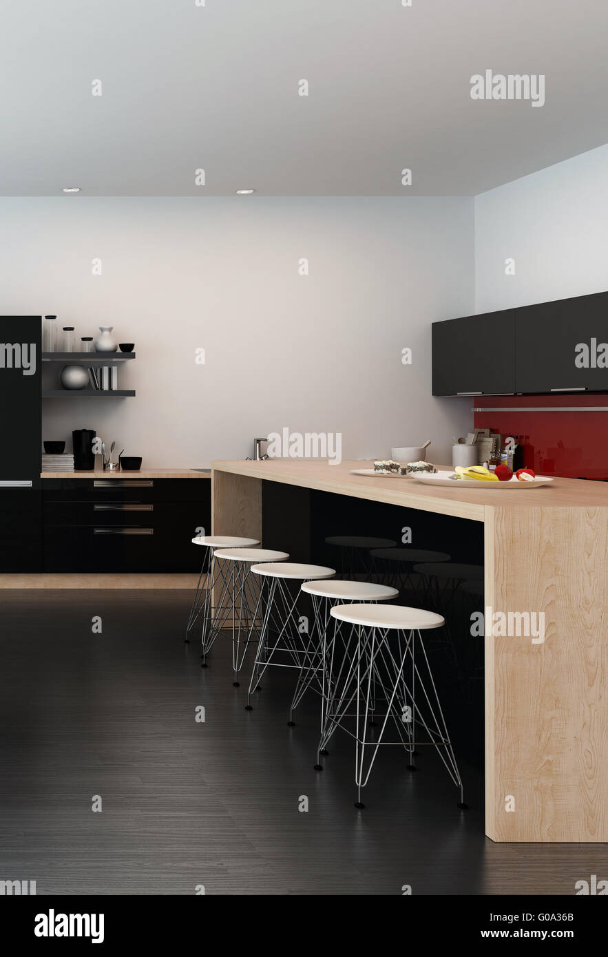 Moderne bar Theke in eine offene Küche mit einem hölzernen Insel ...
