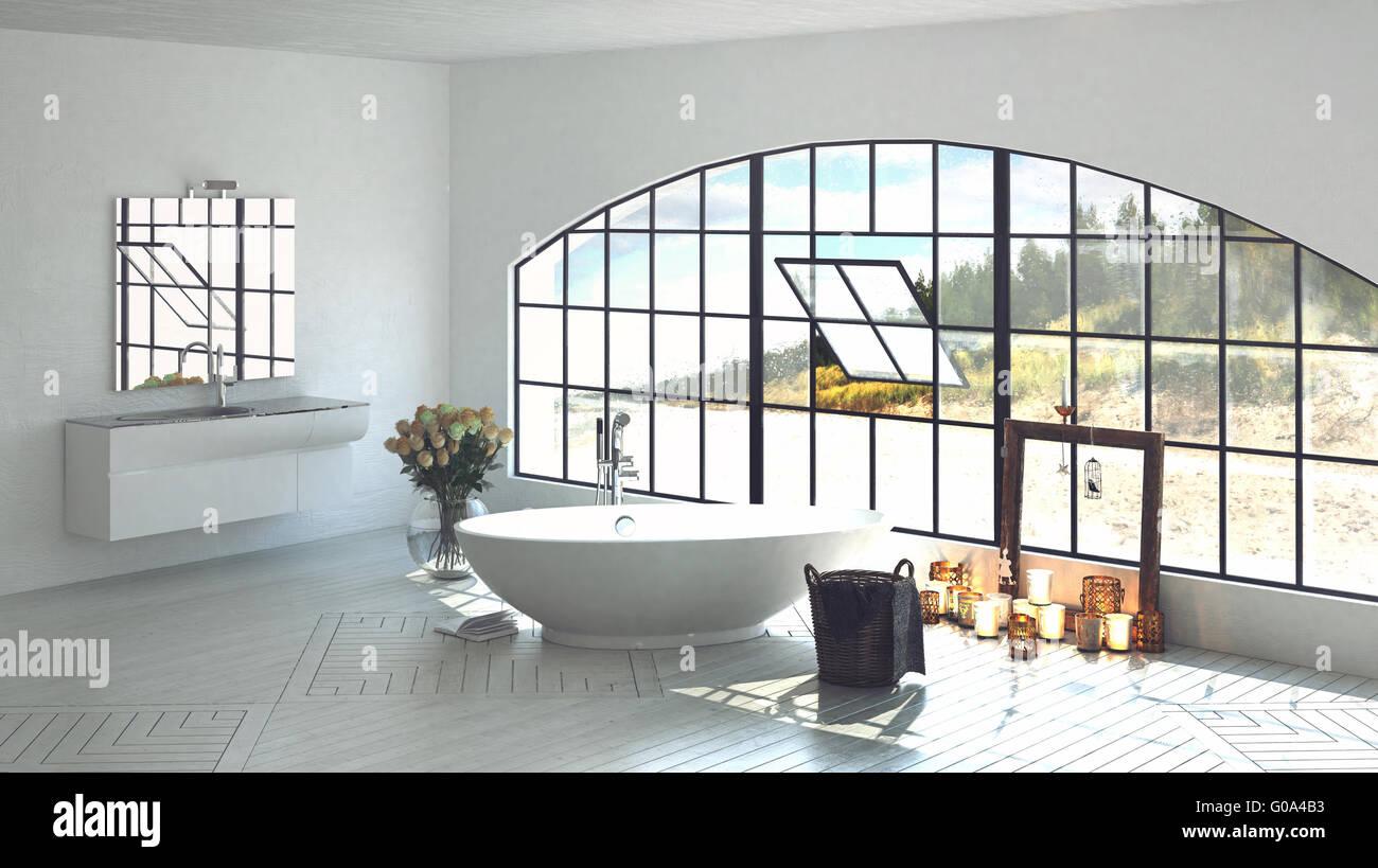 Interieur Architektur 3D Rendern luxuriöse Badezimmer mit ovale ...
