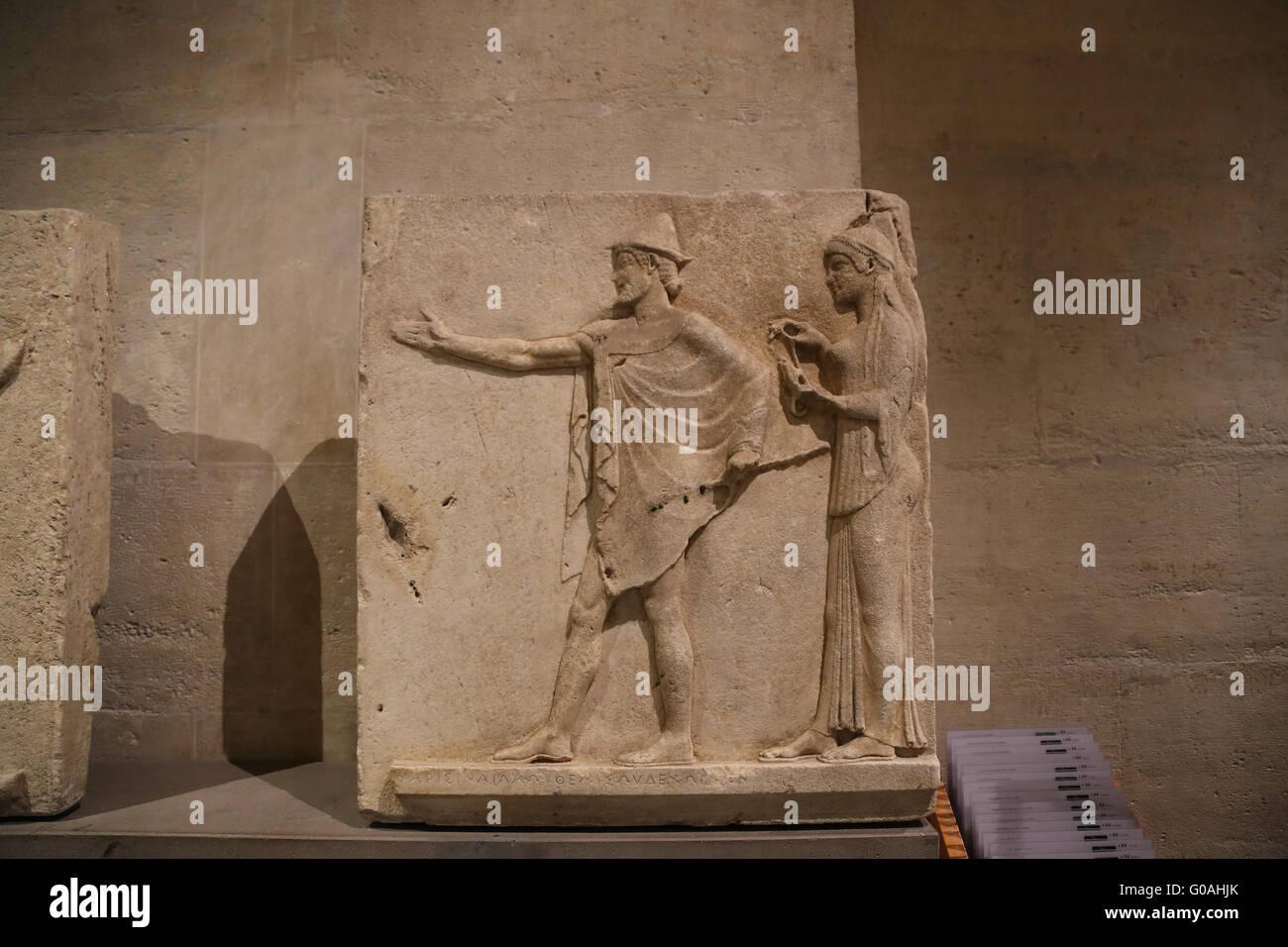 Hermes Agoraios und eine Wohltätigkeitsorganisation. Befreiung von den Durchgang von Theores, Thasos, c.470 Stockbild