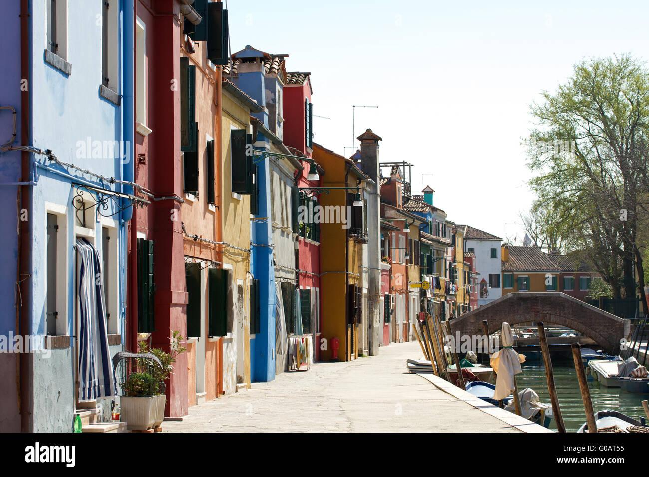 Kleinen Kanal in Burano. Italien Stockbild