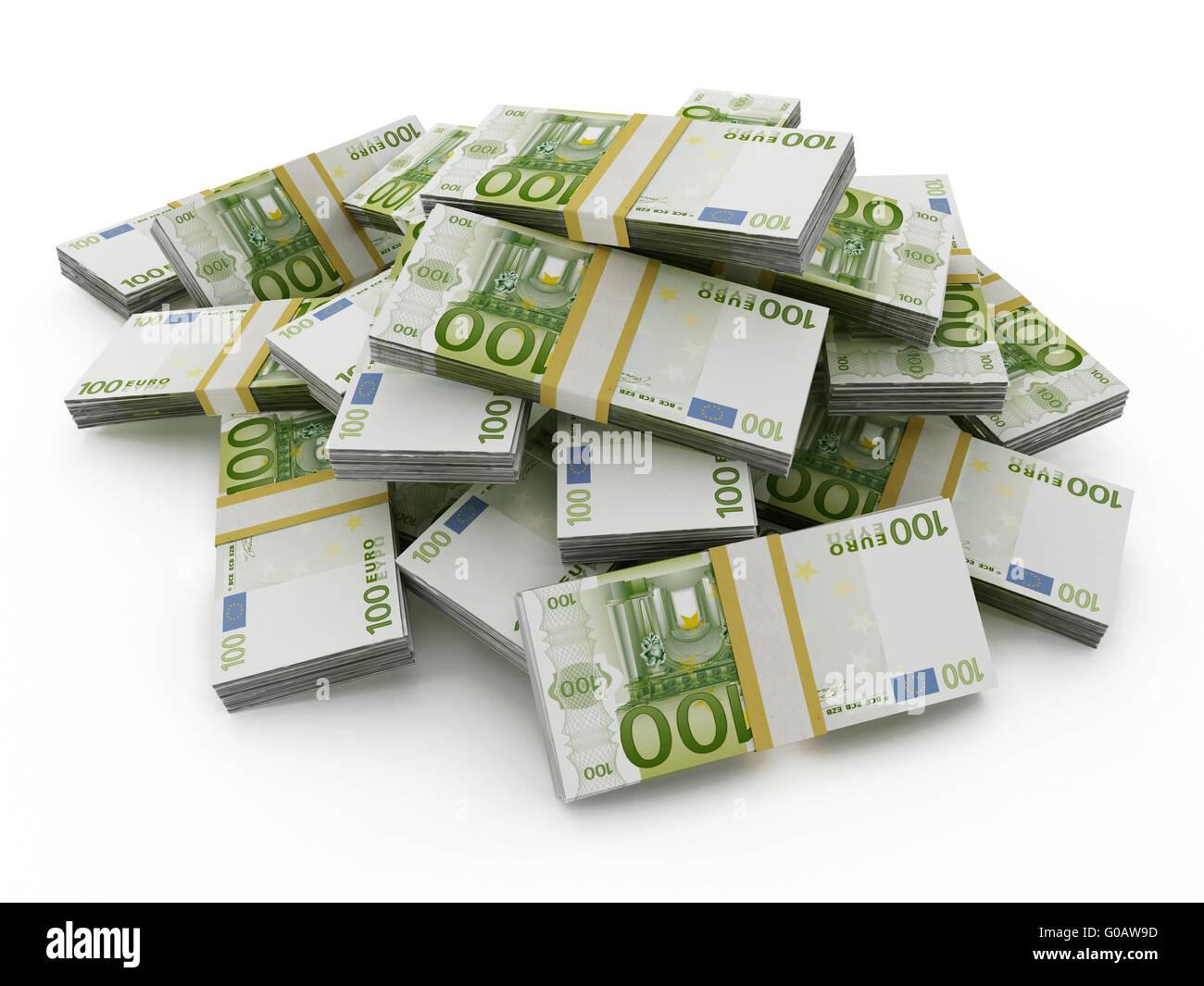 100 Euro Geld viel bilden einen Haufen isoliert auf weißem Hintergrund Stockbild