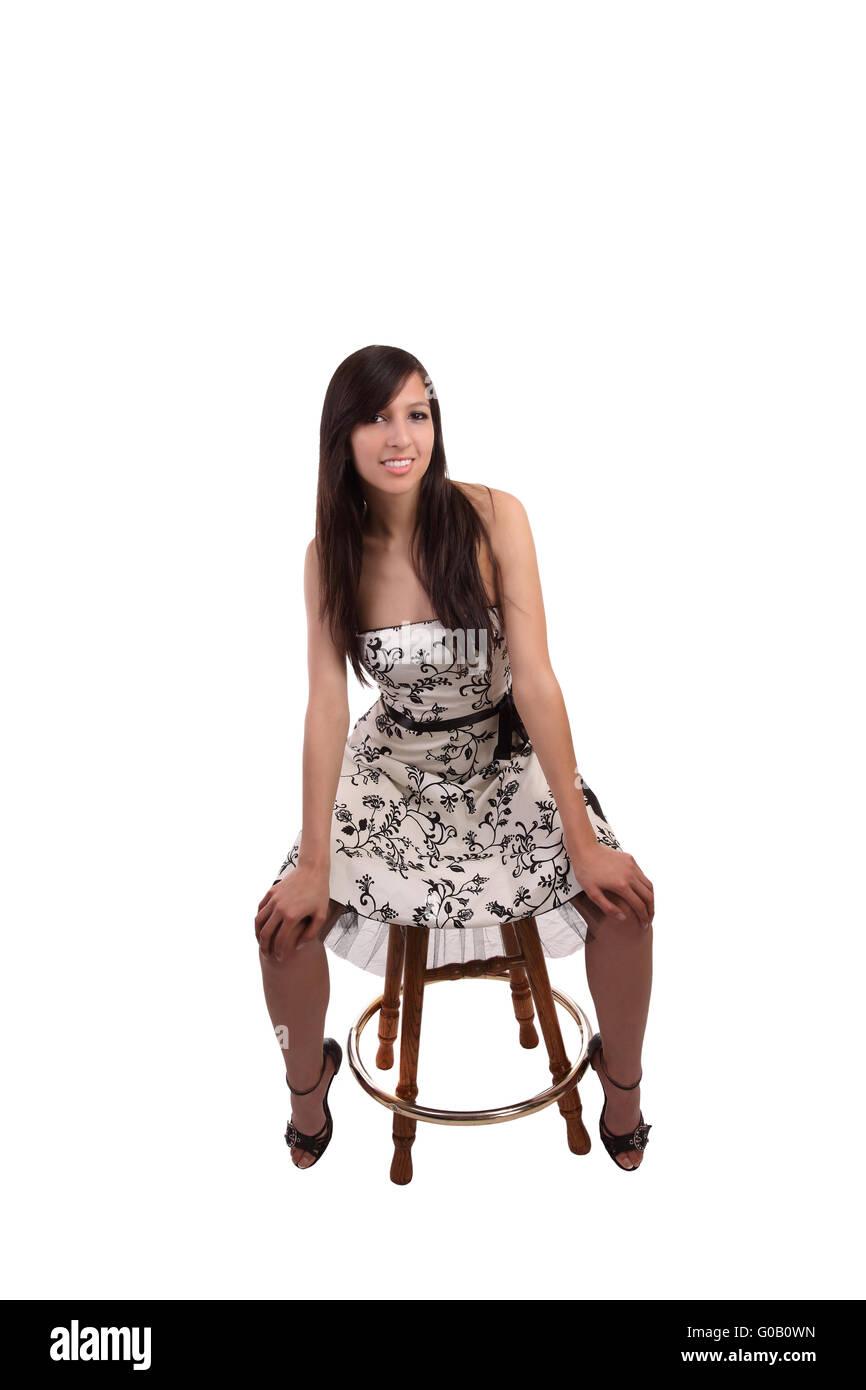 Stuhl kaukasischen auf Kleid Junge Teen im Fraudie sitzen OwXikuTPZ