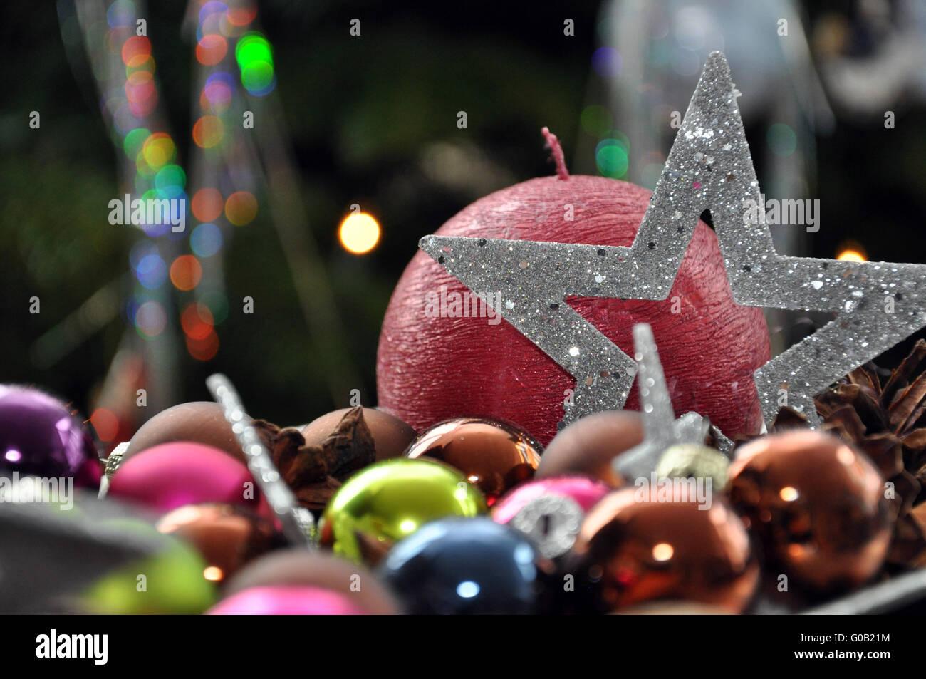 Weihnachtsszene mit Kerze Stockfoto, Bild: 103505296 - Alamy