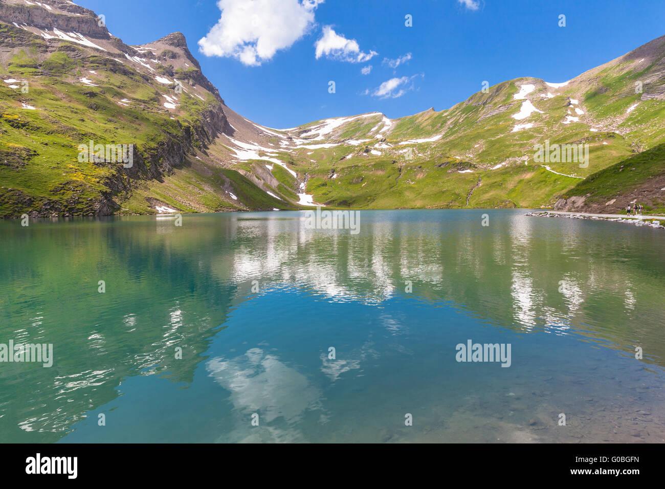 Bergsee in Schweizer Alpen, Bachalpsee, Grindelwald, Schweiz Stockbild