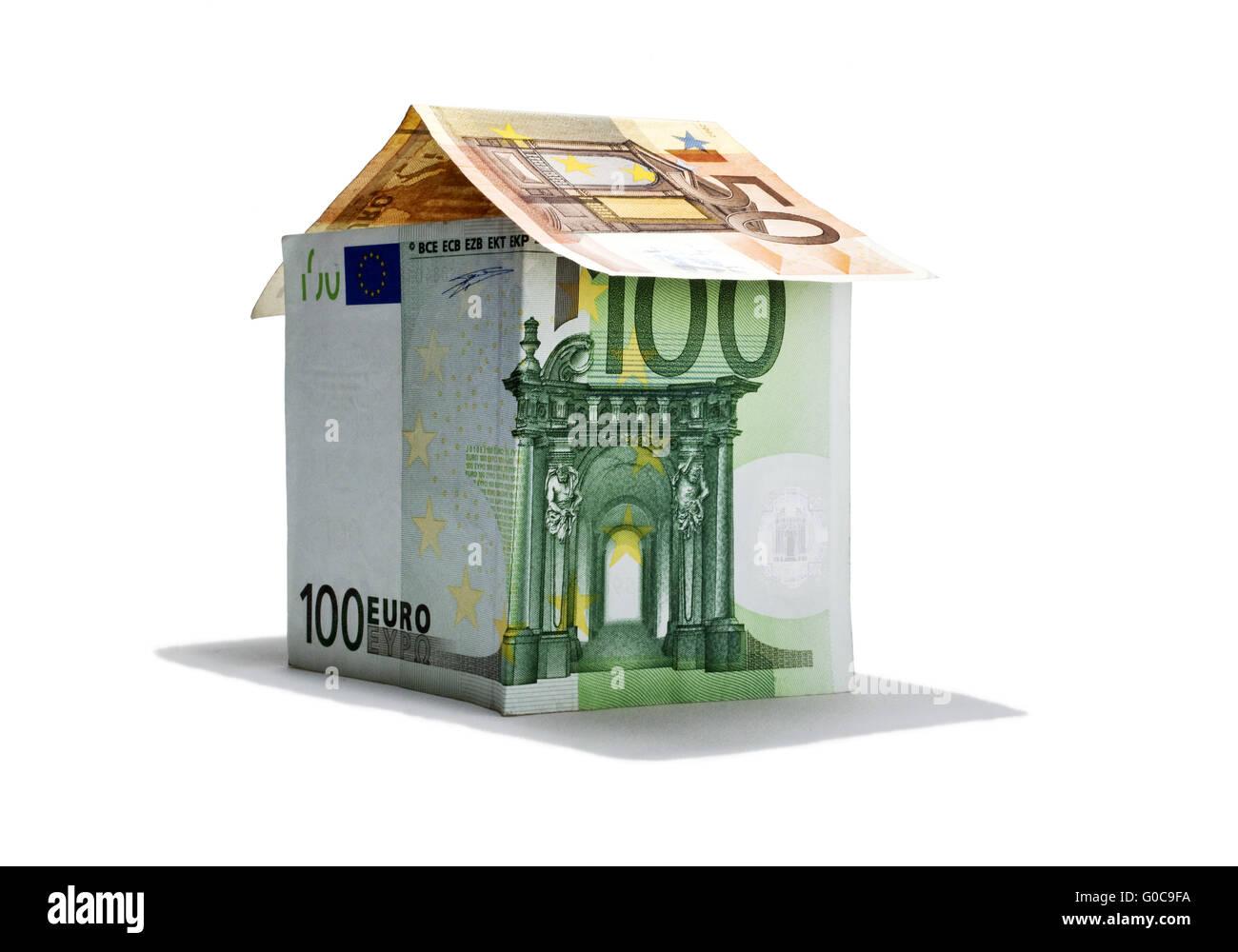 Haus von Euro-Banknoten, symbolisches Bild Stockbild