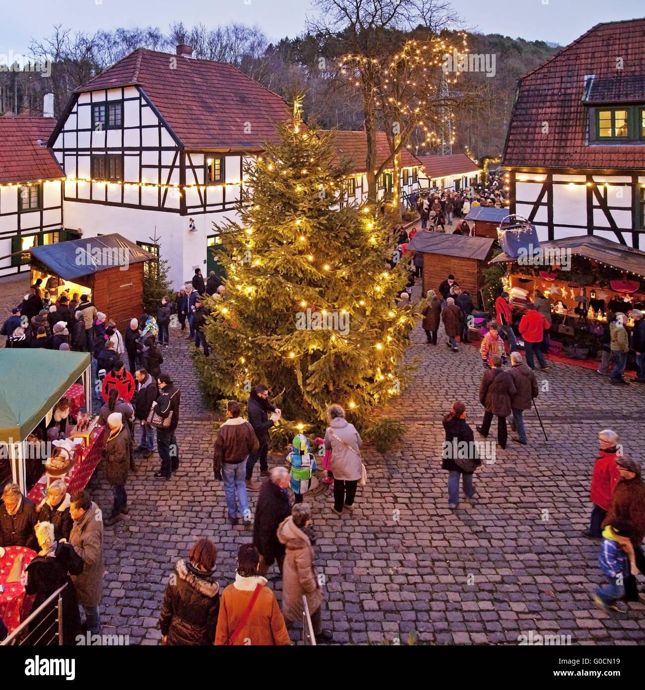 Weihnachtsmarkt am Maste-Barendorf, Iserlohn Stockbild