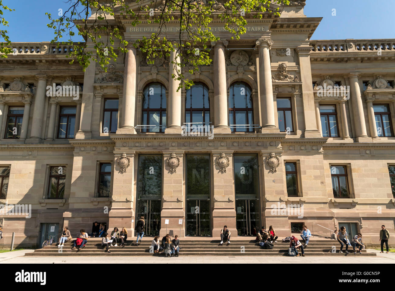 die National- und Universitätsbibliothek am Place De La République in Straßburg, Elsass, Frankreich Stockbild