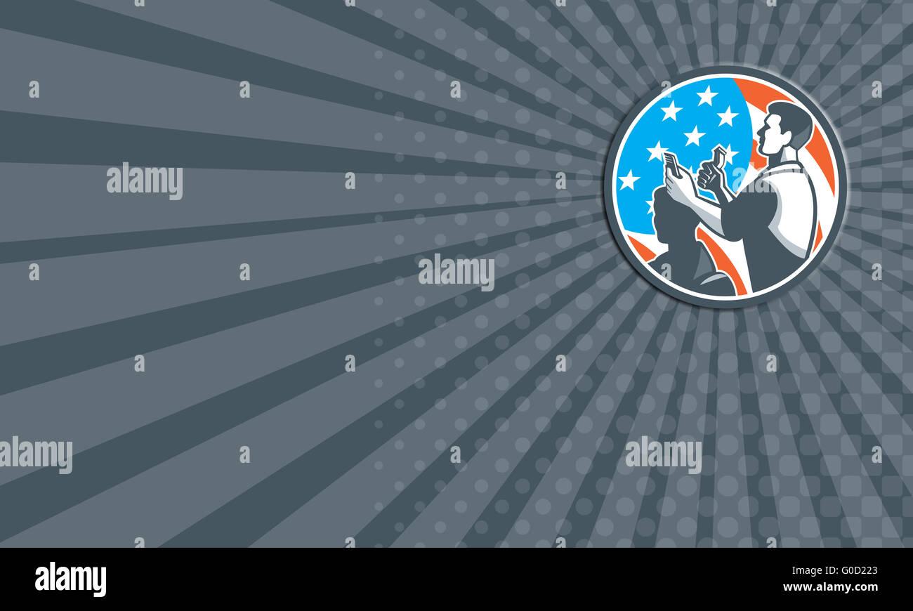 Visitenkarten Friseur Schere Kamm Schneiden Usa Flagge Retro