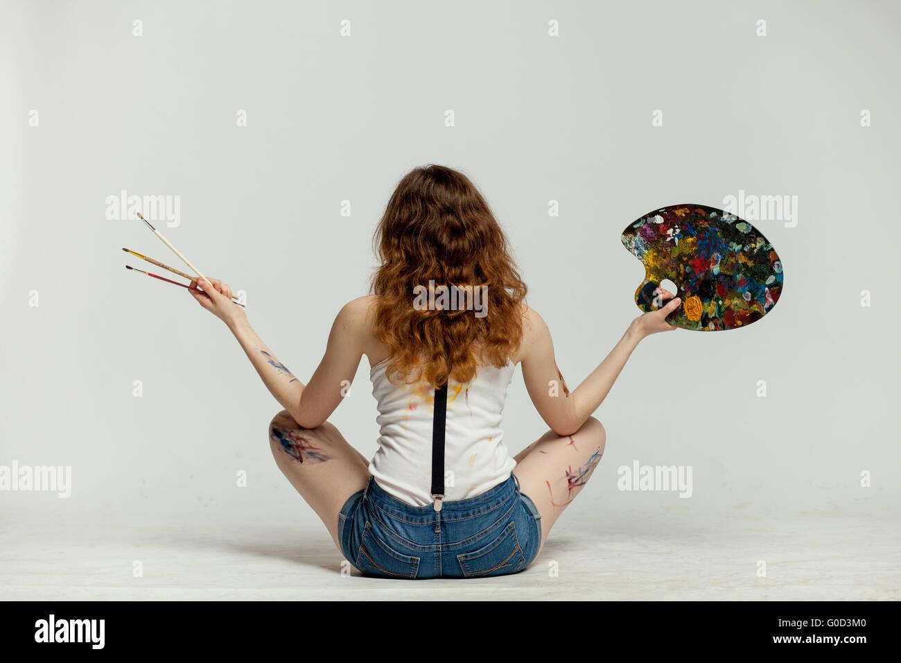 Mädchen-Künstler zurück Stockbild