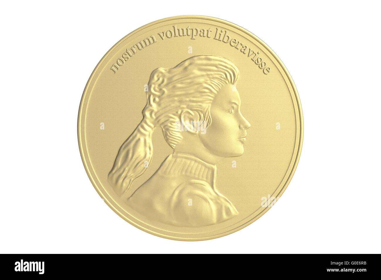 Gold Münze Medaille Stockfoto Bild 103574895 Alamy