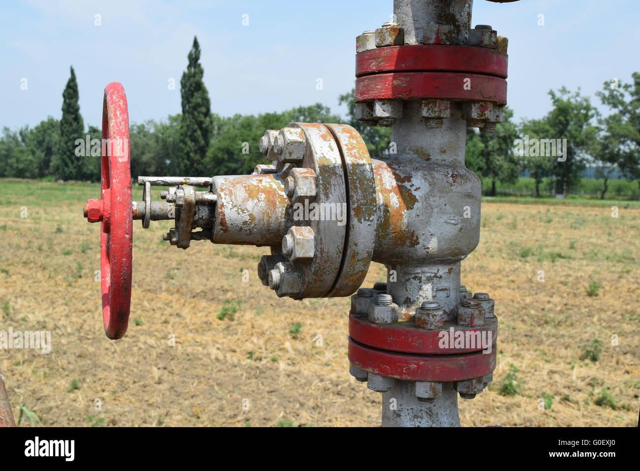 Das Tor auf eine Ölquelle Stockbild