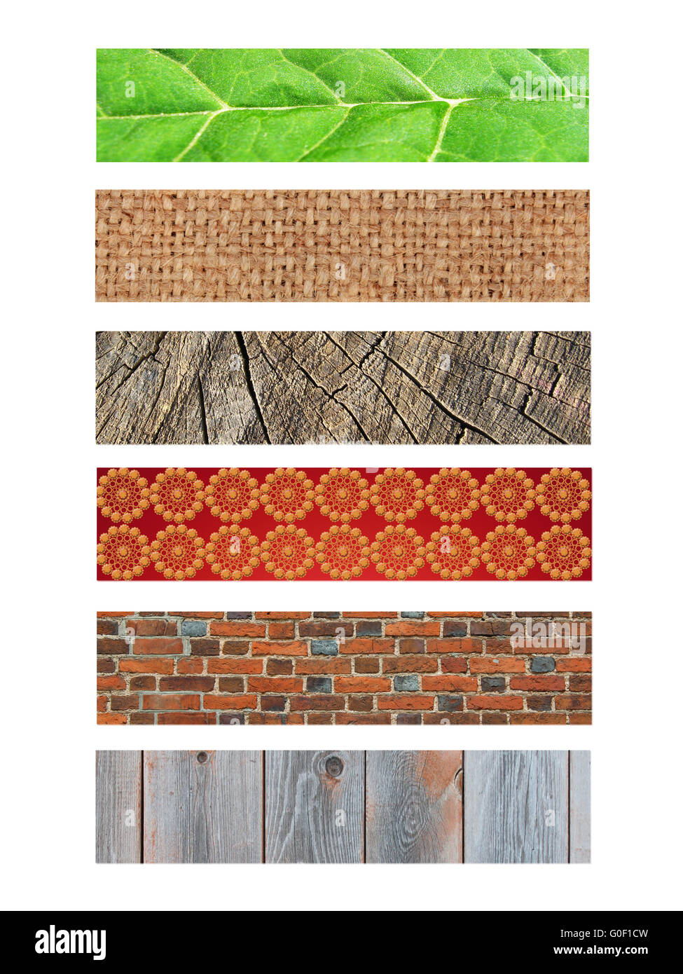 verschiedene Muster aus vielen Materialien Stockbild