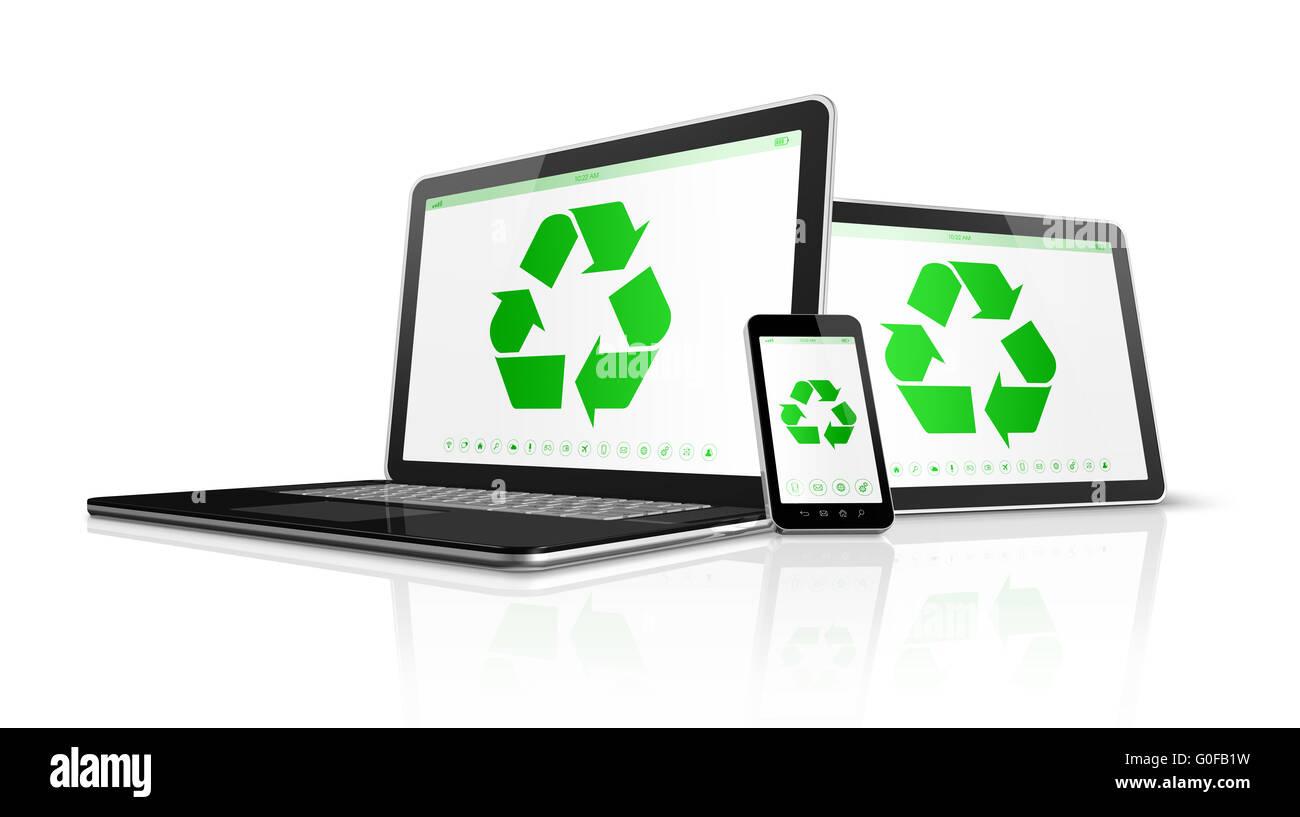 Elektronische Geräte mit einem recycling-Symbol auf dem Bildschirm ...
