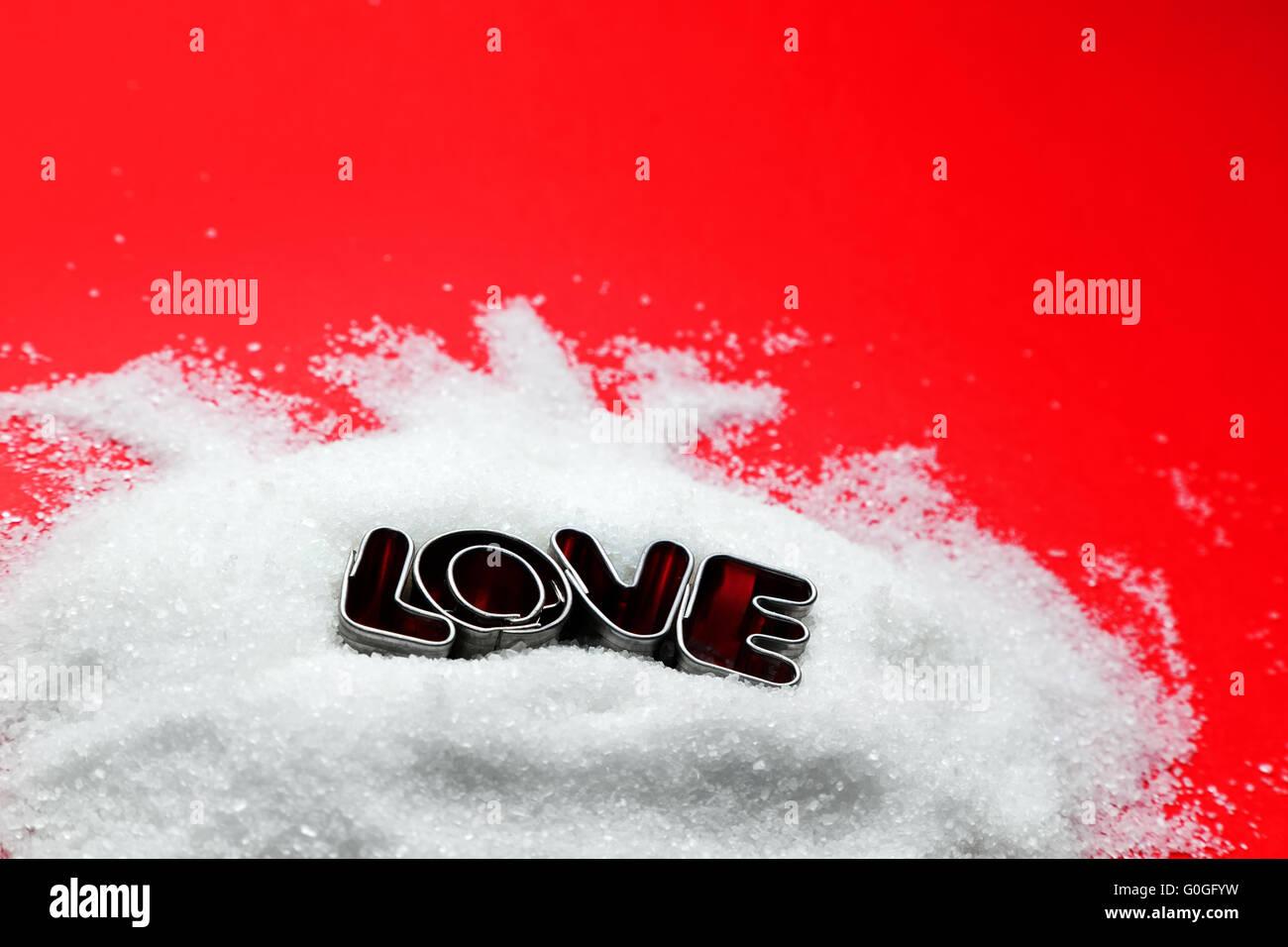 Liebe SMS Von Cookie Serienbriefe Auf Zucker Und Roten Hintergrund.  Valentinstag Thema
