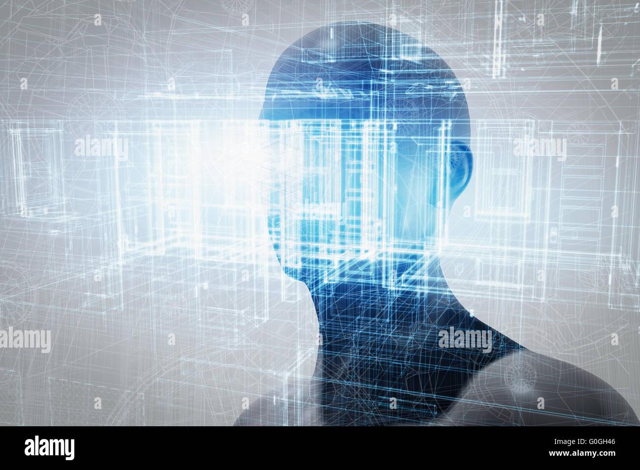 Virtual-Reality-Projektion. Zukünftige Wissenschaft mit moderner Technik, künstliche Intelligenz Stockbild