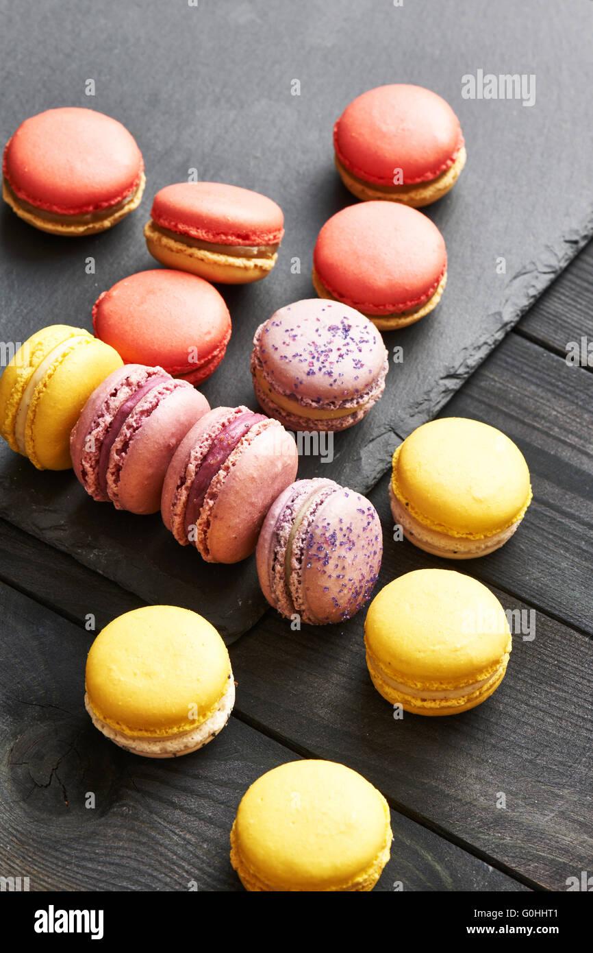 Französische köstliches Dessert Makronen Stockbild